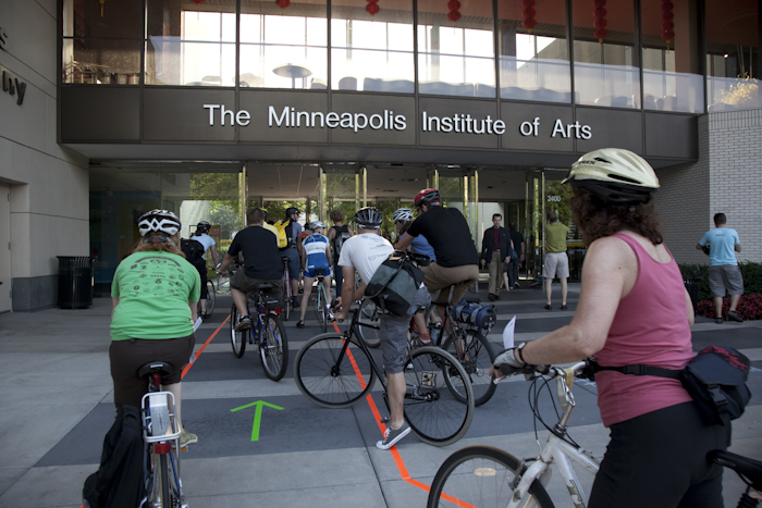 Bike night at the Minneapolis Institute of Arts